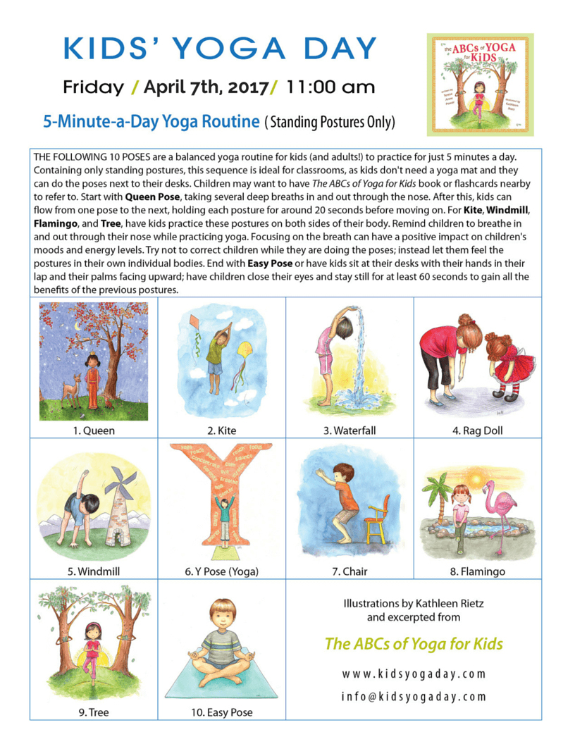 These Wonderful Routines Introduce Yoga Pose Mindfulness And Only Take Minutes They Are Adapted From Kids Day Founder Teresa Power Her Book